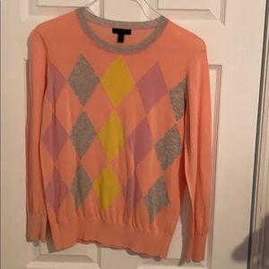 J Cree lightweight sweater with argyle detail